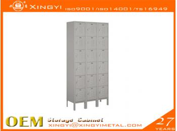 Economic Steel Locker Six Tier Box Style Gray