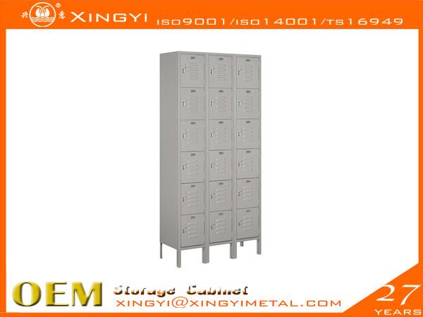 Economic Steel Locker Six Tier Box Style Gray