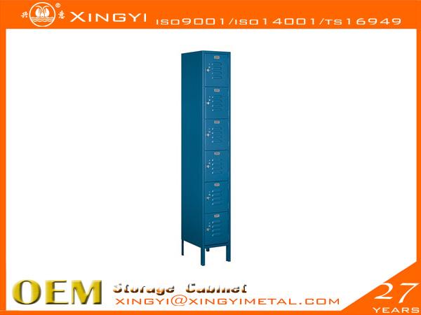 Economic Steel Locker Six Tier Box Style Bule